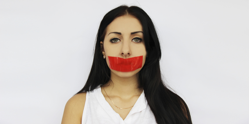 taped-mouth-woman-cannot-speak